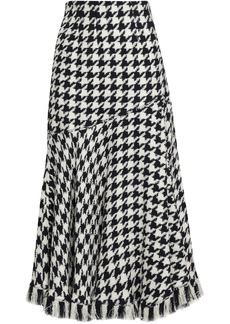 Oscar De La Renta Woman Houndstooth Wool-blend Jacquard Midi Skirt White
