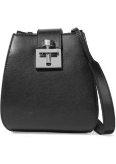 Oscar De La Renta Woman Houston Smooth And Textured-leather Bucket Bag Black