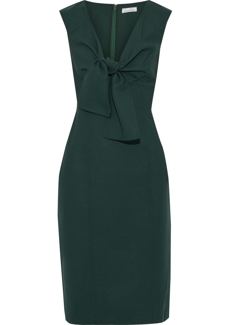 Oscar De La Renta Woman Knotted Wool-blend Cady Dress Dark Green