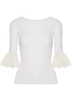 Oscar De La Renta Woman Corded Lace-trimmed Ribbed Merino Wool Top Ivory