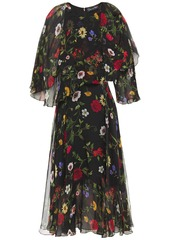 Oscar De La Renta Woman Layered Floral-print Silk-chiffon Midi Dress Black