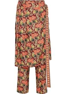 Oscar De La Renta Woman Layered Floral-print Silk-twill Straight-leg Pants Brick