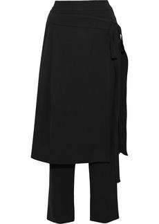 Oscar De La Renta Woman Layered Pleated Crepe Straight-leg Pants Black