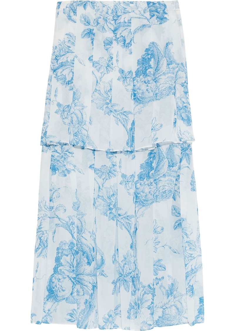 Oscar De La Renta Woman Layered Pleated Floral-print Silk-chiffon Midi Skirt Sky Blue