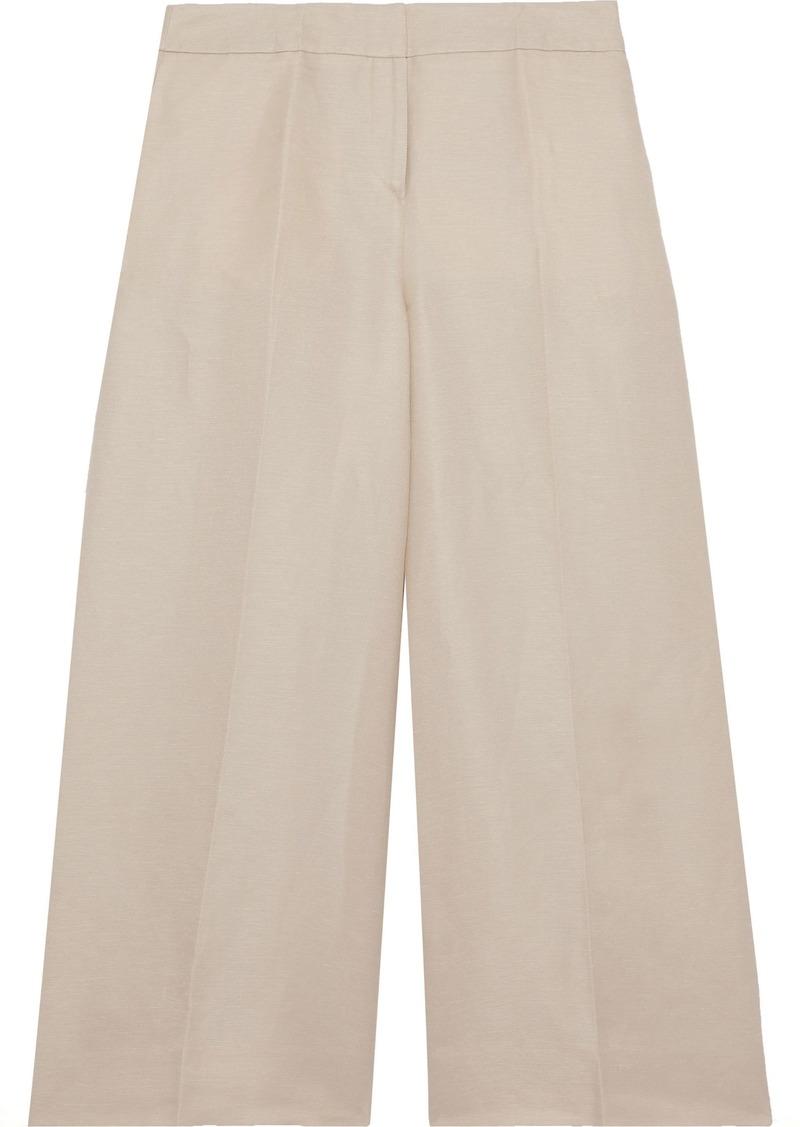 Oscar De La Renta Woman Linen-blend Twill Culottes Neutral