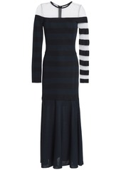 Oscar De La Renta Woman Mesh-paneled Striped Stretch-knit Midi Dress Midnight Blue