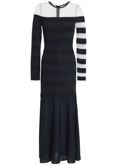 Oscar De La Renta Woman Mesh-paneled Striped Stretch-knit Midi Dress Midnight Blue