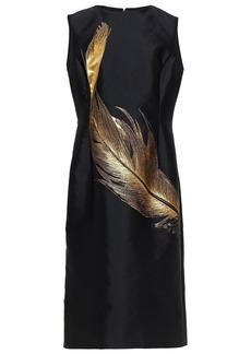 Oscar De La Renta Woman Metallic Embroidered Taffeta Midi Dress Black