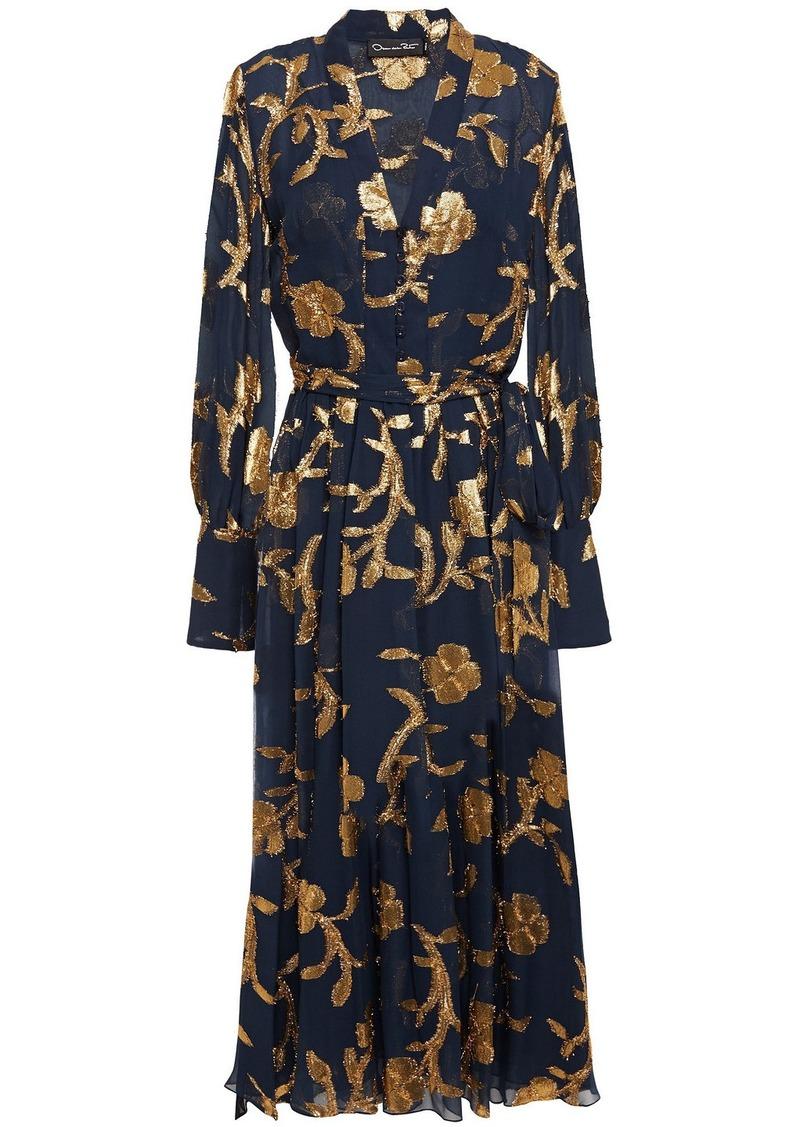 Oscar De La Renta Woman Metallic Fil Coupé Silk-blend Chiffon Midi Dress Storm Blue