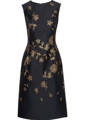 Oscar De La Renta Woman Metallic Floral-jacquard Dress Black