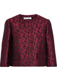 Oscar De La Renta Woman Metallic Jacquard Jacket Plum