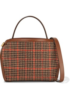 Oscar De La Renta Woman Nolo Houndstooth Tweed And Leather Shoulder Bag Brown