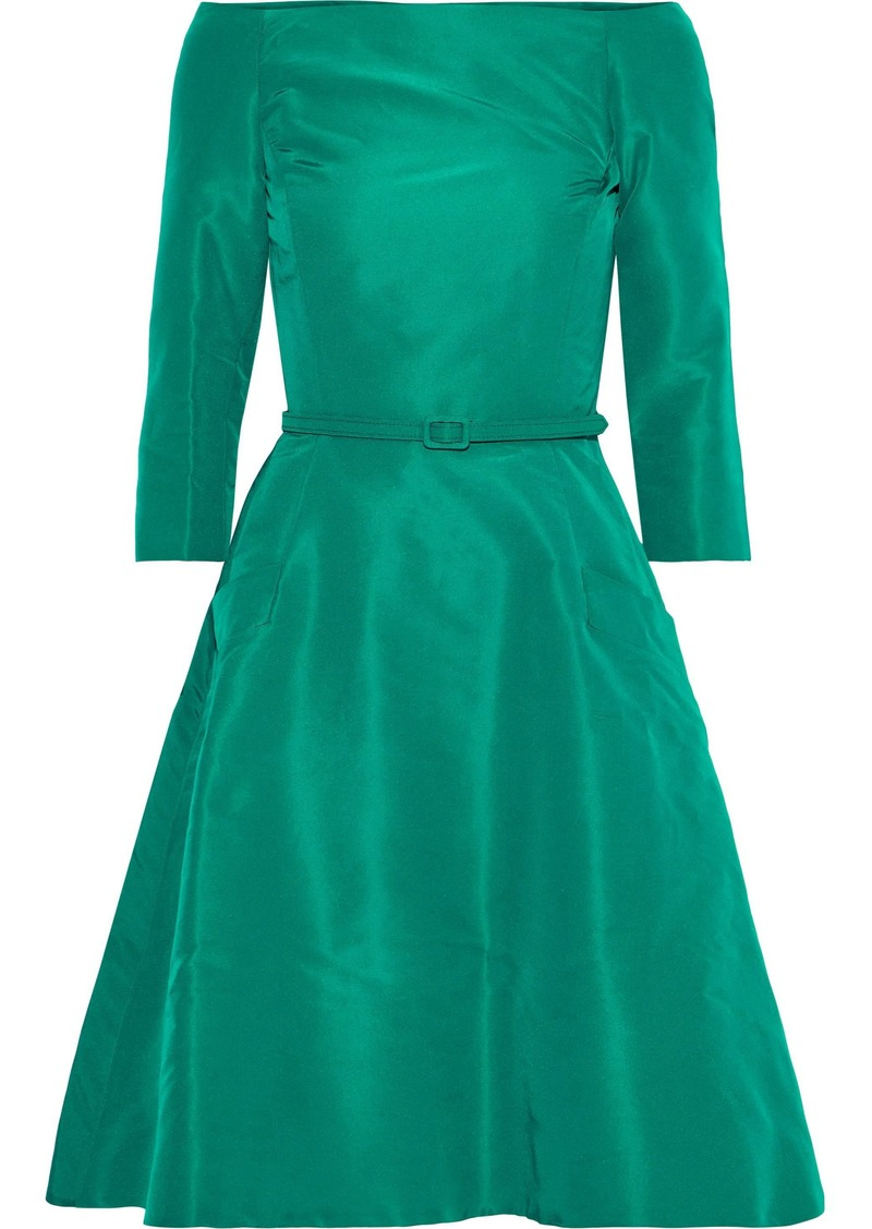 Oscar De La Renta Woman Off-the-shoulder Belted Silk-faille Dress Jade