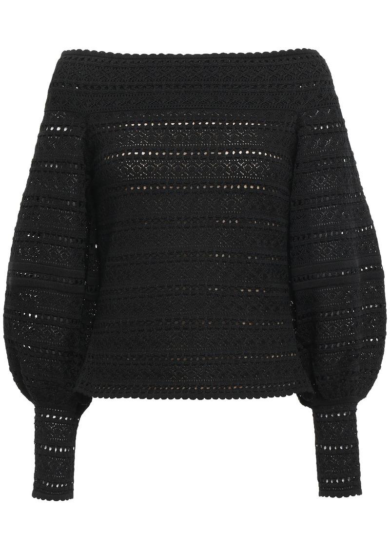 Oscar De La Renta Woman Off-the-shoulder Crochet-knit Top Black