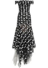 Oscar De La Renta Woman Off-the-shoulder Flocked Tulle Gown Black