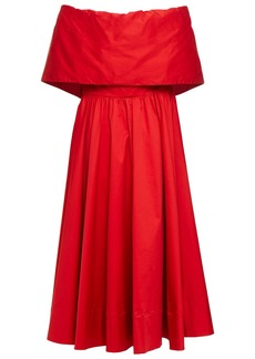 Oscar De La Renta Woman Off-the-shoulder Fluted Cotton-blend Twill Midi Dress Crimson
