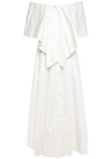 Oscar De La Renta Woman Off-the-shoulder Fluted Cotton-blend Twill Midi Dress White