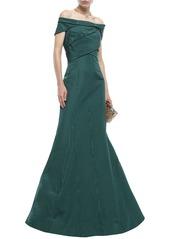 Oscar De La Renta Woman Off-the-shoulder Pleated Cotton-blend Moire Gown Dark Green