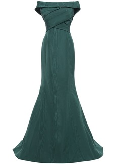 Oscar De La Renta Woman Off-the-shoulder Pleated Cotton-blend Moire Gown Dark Green