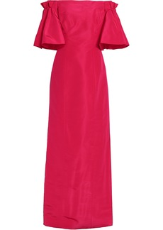 Oscar De La Renta Woman Off-the-shoulder Silk-faille Gown Fuchsia