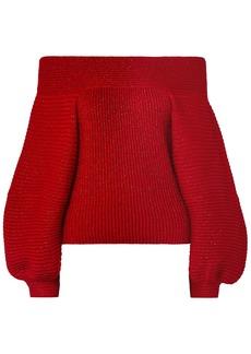 Oscar De La Renta Woman Off-the-shoulder Wool-blend Sweater Red