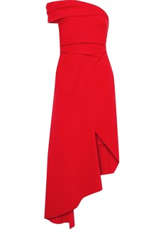 Oscar De La Renta Woman One-shoulder Asymmetric Crepe Midi Dress Red