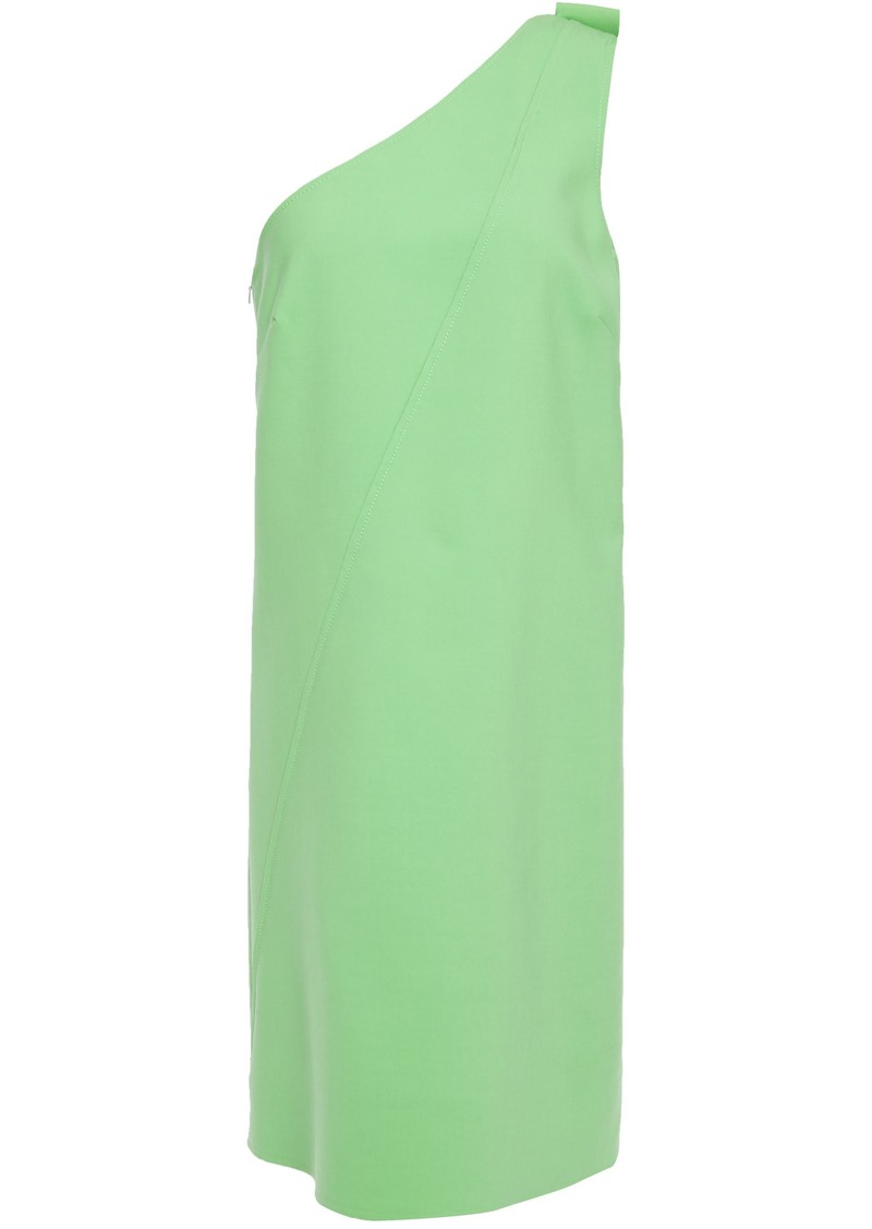 Oscar De La Renta Woman One-shoulder Bow-embellished Wool-blend Cady Mini Dress Light Green