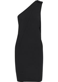 Oscar De La Renta Woman One-shoulder Bow-embellished Wool-blend Cady Mini Dress Black