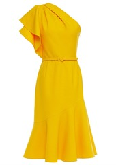 Oscar De La Renta Woman One-shoulder Fluted Wool-blend Crepe Midi Dress Marigold