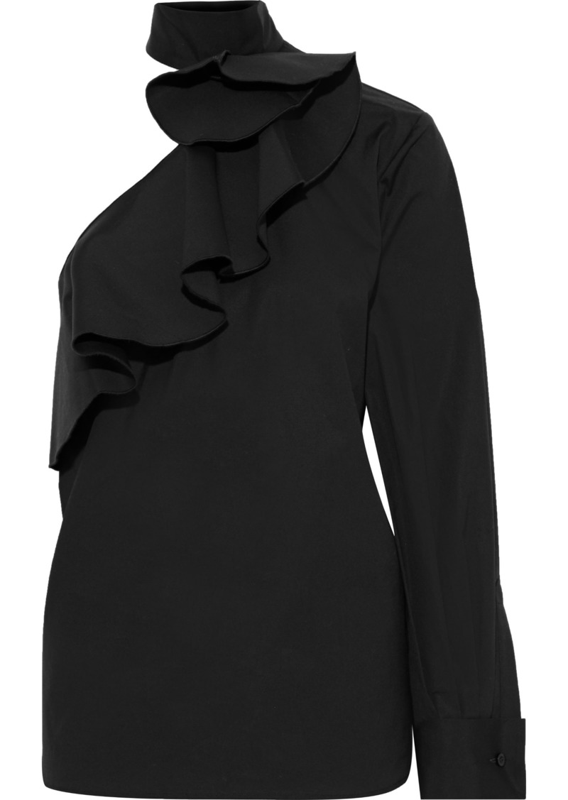 Oscar De La Renta Woman One-shoulder Ruffled Cotton-blend Poplin Blouse Black