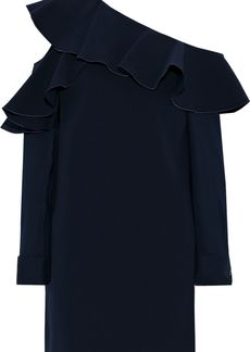 Oscar De La Renta Woman One-shoulder Ruffled Cotton Mini Dress Navy