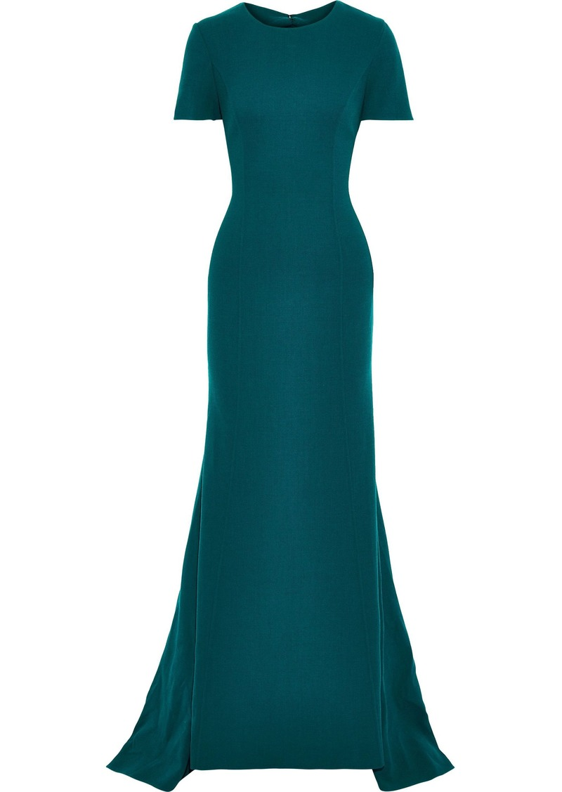 Oscar De La Renta Woman Open-back Wool-blend Crepe Gown Petrol