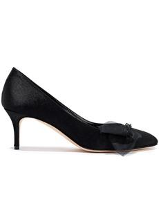 Oscar De La Renta Woman Organza-trimmed Embellished Satin Pumps Black