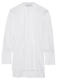 Oscar De La Renta Woman Oversized Pintucked Cotton-poplin Shirt White