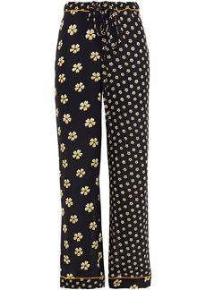 Oscar De La Renta Woman Paneled Floral-print Silk Straight-leg Pants Black