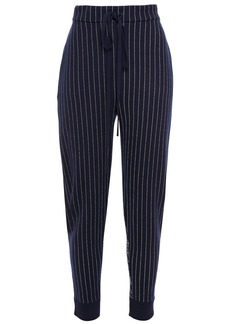 Oscar De La Renta Woman Paneled Wool-blend Jacquard Tapered Pants Navy