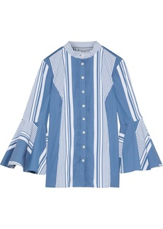 Oscar De La Renta Woman Pintucked Striped Cotton-blend Poplin Shirt Cobalt Blue