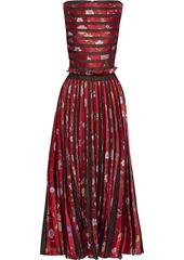 Oscar De La Renta Woman Pleated Burnout Floral-jacquard Gown Red