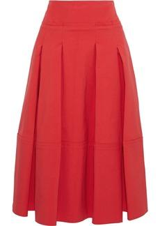 Oscar De La Renta Woman Pleated Cotton-blend Poplin Skirt Red