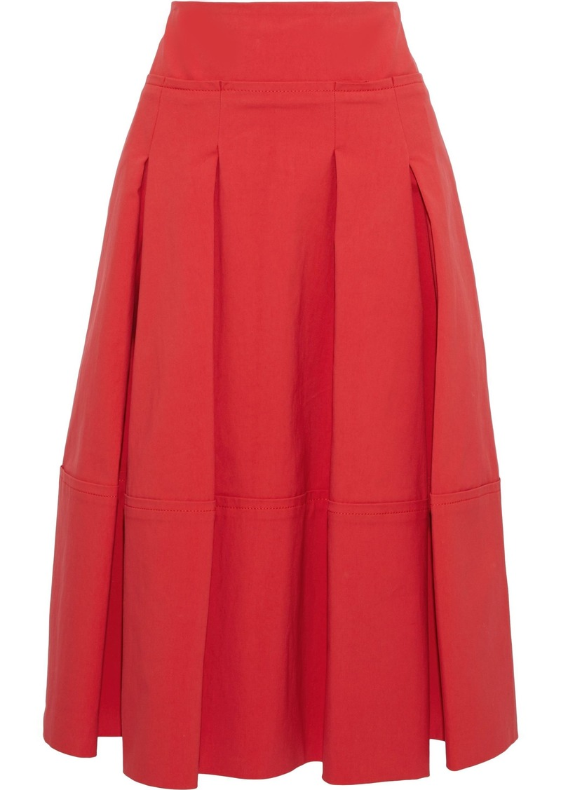 Oscar De La Renta Woman Pleated Cotton-blend Poplin Skirt Red
