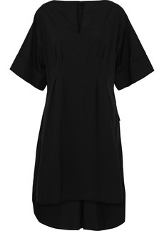 Oscar De La Renta Woman Asymmetric Stretch-cotton Poplin Mini Dress Black