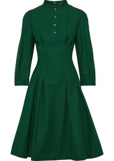 Oscar De La Renta Woman Pleated Cotton-poplin Dress Forest Green