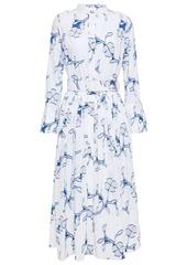 Oscar De La Renta Woman Pleated Fil Coupé Cotton-poplin Midi Dress White