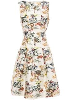 Oscar De La Renta Woman Pleated Fil Coupé Floral-jacquard Dress Ivory