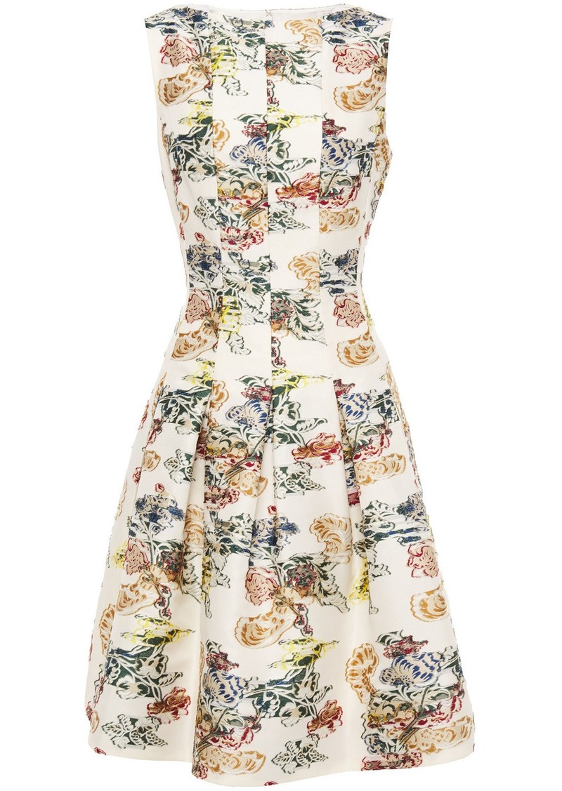 Oscar De La Renta Woman Pleated Fil Coupé Floral-jacquard Dress Ivory