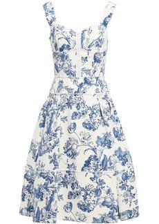 Oscar De La Renta Woman Pleated Floral-print Cotton-blend Bouclé Dress Azure