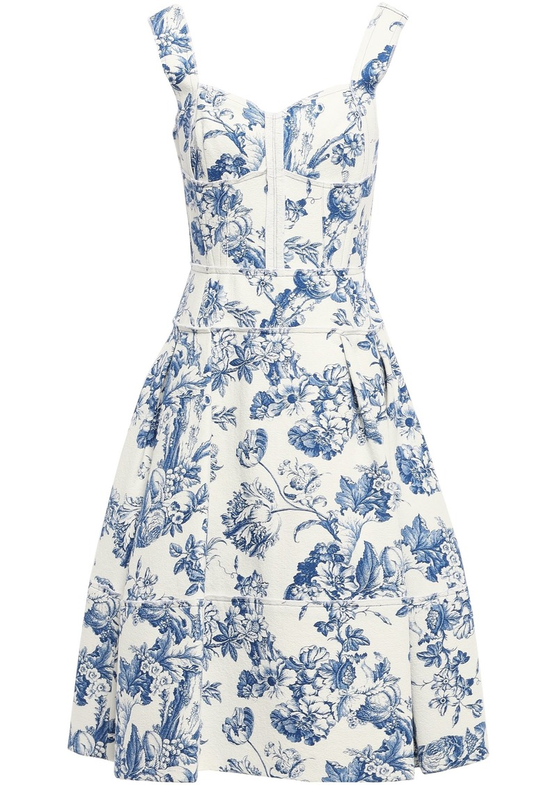 Oscar De La Renta Woman Pleated Floral-print Cotton-blend Bouclé Dress Azure