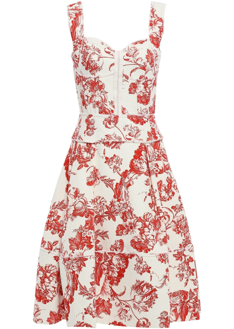 Oscar De La Renta Woman Pleated Floral-print Cotton-blend Bouclé Dress Tomato Red