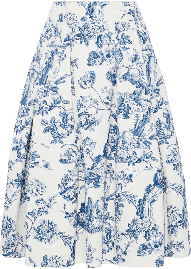 Oscar De La Renta Woman Pleated Floral-print Cotton-blend Bouclé Midi Skirt Azure