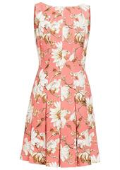 Oscar De La Renta Woman Pleated Floral-print Crepe Dress Coral